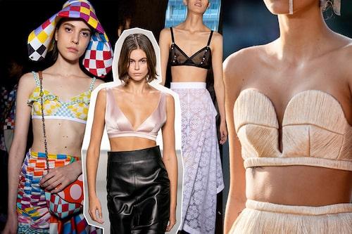 Årets heta trendplagg braletten bärs helst ensamt, men annars under en kavaj. Hos Lanvin, Givenchy, Loewe och Marco de Vincenzo.