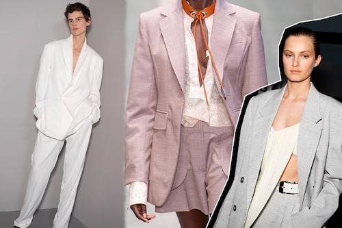 Haider Ackermann, Sportmax och Proenza Schouler visade alla upp ljusa kostymer för SS20.