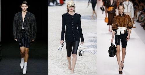Cykelbyxor i fokus hos Mugler, Chanel och Fendi SS19.