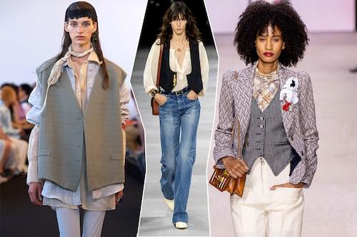 Herrvästen är en tacksam förlängning på vårens 70 tals-trend. Vårmode för dam hos Acne Studios, Celine och Louis Vuitton.