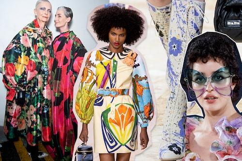 Vårmodet 2020 kommer med en dos av pop-blommor. Här hos Richard Quinn, Louis Vuitton, Miu Miu och Marc Jacobs SS20.