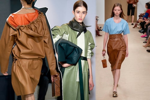 Skinn från topp till tå hos Bottega Veneta, Lacoste och Tods, en het trend för dam våren 2020.