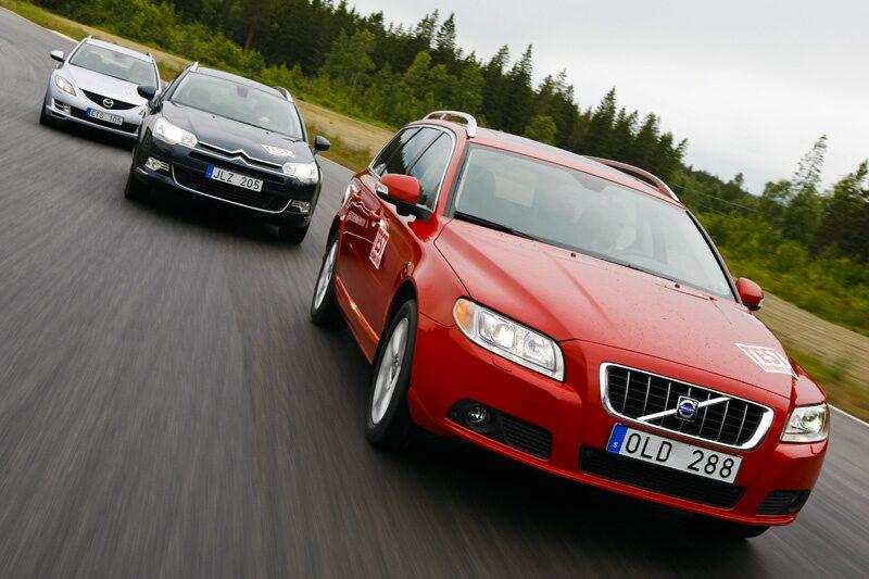 Volvo V70, Citroën C5 Tourer och Mazda 6 Kombi.