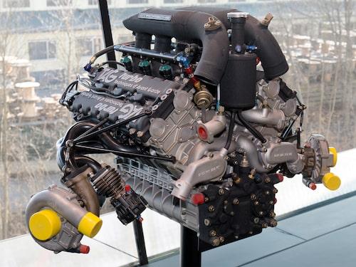 Så här ser TAG-Porsches 1,5-liters V6 F1-motor från mitten av 1980-talet ut. Här fotograferad på Porsches museum i Stuttgart.
