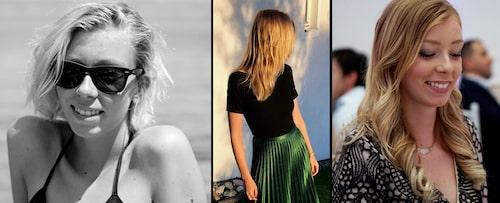 """Marika Cederlunds före och efter-resultat. Idag, tre år senare, använder hon fortfarande skönhetsmetoden.  """"Till vänster var jag tvungen att klippa av håret för det var så slitet. Det var efter det jag började med balsammetoden, och mitt hår tog fart och blev friskt – på riktigt. Idag tvättar jag det med balsam tre gånger i veckan och använder inga andra stylingprodukter än hårolja till vardags. Jag slingar fortfarande mitt hår en till två gånger om året."""""""
