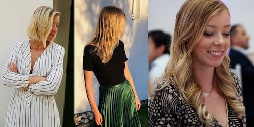 """""""Till vänster var jag tvungen att klippa av håret för det var så slitet. Det var efter det jag började med balsammetoden, och mitt hår tog fart och blev friskt – på riktigt. Idag tvättar jag det med balsam tre gånger i veckan och använder till vardags inga andra stylingprodukter än hårolja."""""""