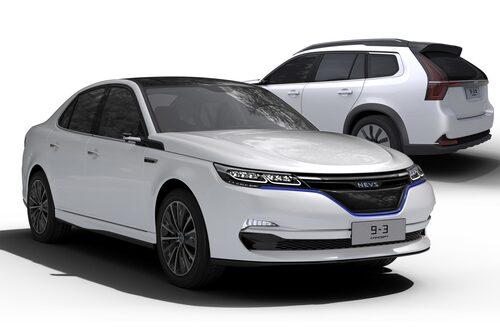 Nevs 9-3 och 9-3X som de såg ut som konceptbilar i somras. Notera att fronten ser väldigt annorlunda ut jämfört med den Nevs 9-3 EV som nu rullat av produktionsbandet i Tianjin-fabriken i Kina.