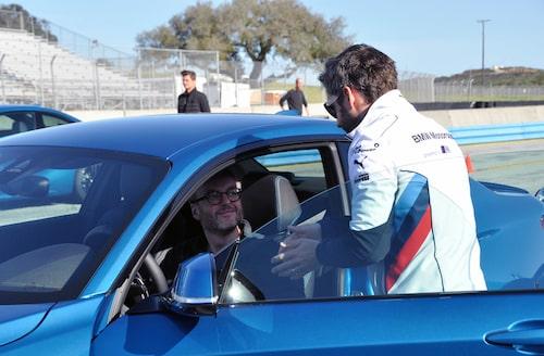Timo Glock ger Hans Hedberg tips om hur han ska attackera Laguna Seca med BMW M2 Coupé.