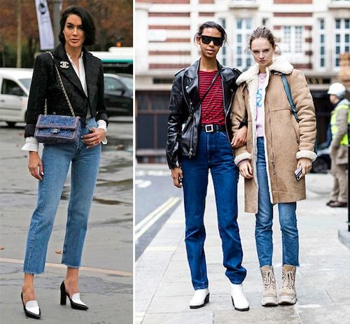 Tips! Croppade, raka jeans till klackar ger intryck av längre ben. En modell med längre ben är snygg att låta vila utanpå skorna.