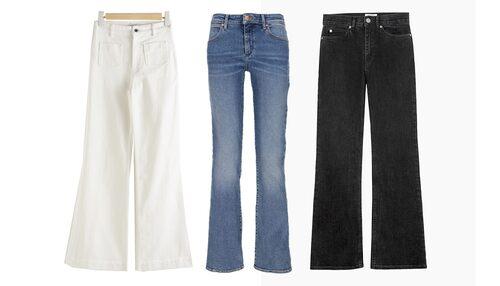 Utsvängda bootcut jeans i olika färger.