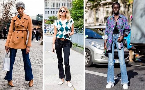 Tips! Matcha utsvängda bootcut jeans med rutor eller blommor för rätt 70-talslook!