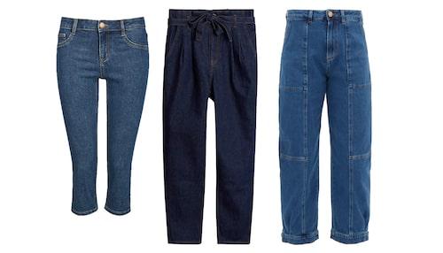 Trendiga jeans våren 2020: capri, paperbag och synliga sömmar.