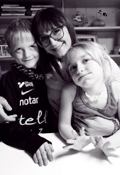 Lisa med Axel och Nina.