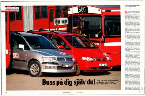 Volkswagen Sharan och Mitsubishi Space Wagon i duell i Teknikens Värld nummer 6/1999.
