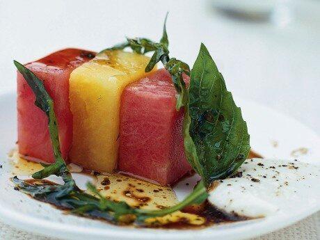 Melon med getostkräm