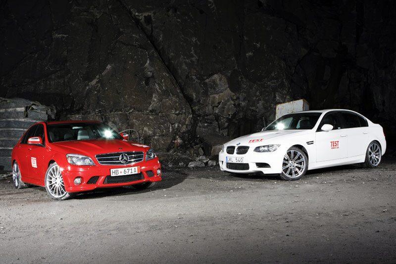 Mercedes C 63 AMG och BMW M3 Sedan.