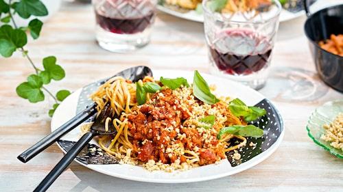 Recept på spagetti vego-bolognese.