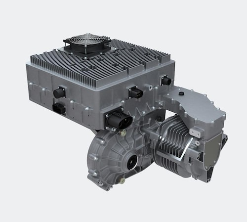 Drivlinan är en kompakt sak som består av omriktaren och tillhörande elektronik (överst), växellådan (i mitten) och den luftkylda elmotorn (till höger).