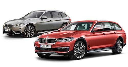 BMW 3-serie Adventure och 5-serie Adventure sida vid sida.