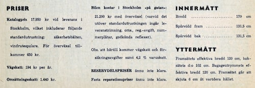 Inner- och yttermått samt priser för Volvo P1800 1961.