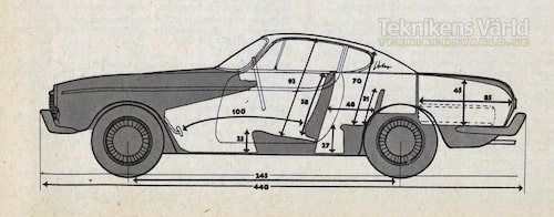 Inner- och yttermått för Volvo P1800 1961.