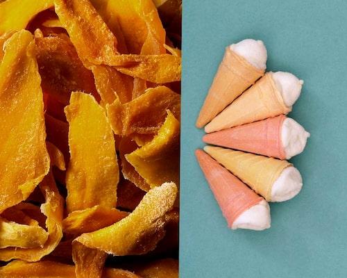 Torkad mango och ministrutar, mums!