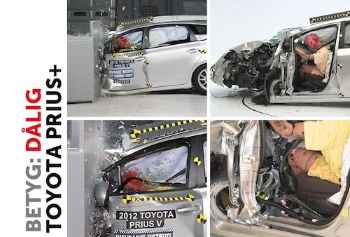 Toyota Prius+. A-stolpen har deformerats och benutrymmet är obefintligt. Notera hur hjulet har trängt in och nästan är vid stolens framkant. Precis som i Camry förflyttar sig ratten åt sidan och krockkuddens funktion har spelat ut sin roll och huvudet slår i instrumentbrädan.