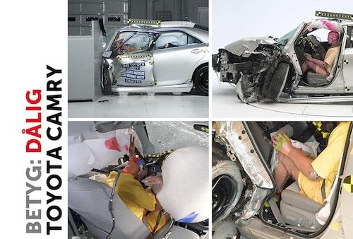 Toyota Camry. Notera A-stolpen som tryckt in kraftigt i kupéutrymmet. Notera även benutrymmen som har deformerats kraftig och hur ratten har förflyttat sig och krockkudden därmed inte skyddar huvudet från att slå i instrumentbrädan.