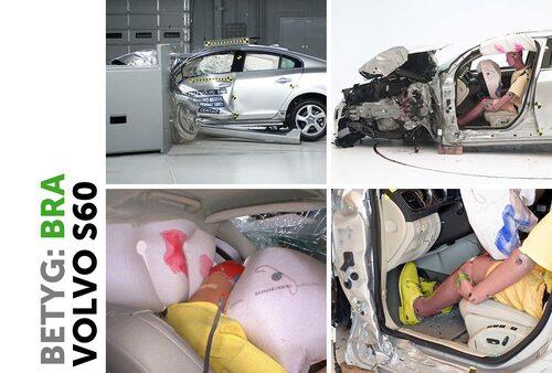 Volvo S60. A-stolpen något deformerad med utgör ingen fara för föraren. Krockkuddarna fångar upp huvudet och benutrymmet är intakt.