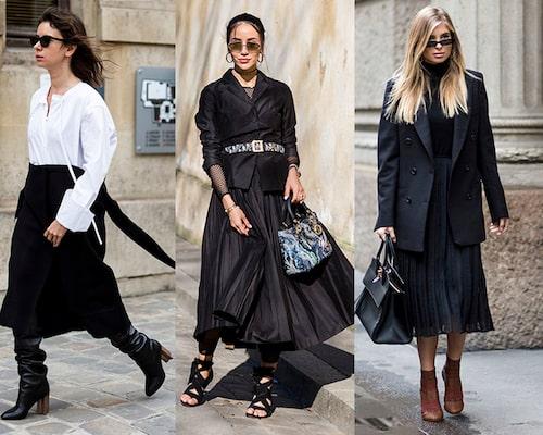 Den svarta kjolen kan du variera i all oändlighet – matcha med boots för en trendsäker look hösten 2019.