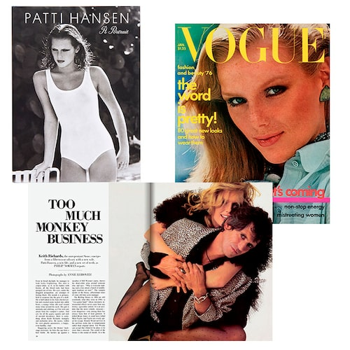 1./ I vit badräkt från Calvin Klein, fotograferad av Arhur Elgort för Vogue 1976. 2./ Patti med maken Keith Richards i Vanity Fair 1984. 3./ En ung Patti Hansen på omslaget av Vogue, januari 1976.