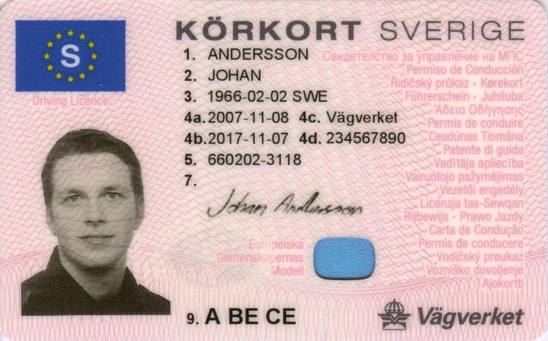 Sveriges nya körkort från och med 1 december 2008. (Källa Vägverket, Trafikregistret)