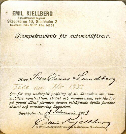 Kompetensbevis för automobilförare utfärdat 1913. (Källa Vägverkets museum)