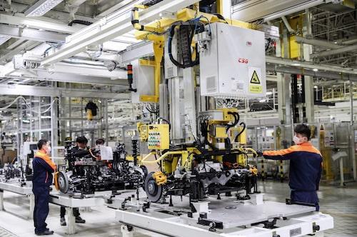 Här tillverkas Polestar 2 i fabriken i kinesiska Luqiao.
