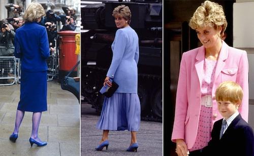 Lady Di i tre olika favoritfärger.