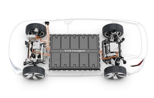 Två elmotorer vid var sin hjulaxel och ett batteripack av litiumjon i mitten.