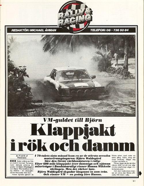 Rapport från Bandamarallyt i Teknikens Värld. Året är 1980 och Björn segrade.