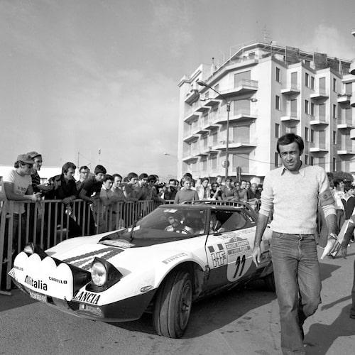 1975 var det Lancia Stratos som gällde. Här i San Remo-rallyt där Björn vann.