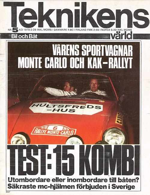 På omslaget till Teknikens Värld efter seger i Monte Carlo-rallyt. Nummer 5/1970.