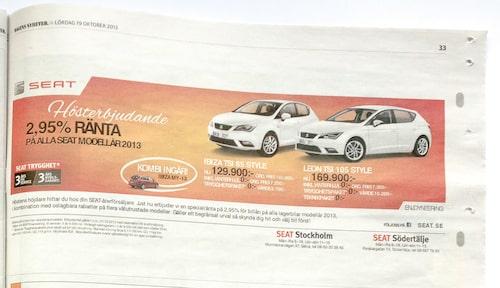 Seat-handlaren erbjuder 2,95 procent ränta. Men bara på modellår 2013. Ränteerbjudandet kommer från generalagenten och tillåter en separat förhandling med handlaren om bilpriset. Vill du ha modellår 2014 kanske det är smartast att ta ett banklån?
