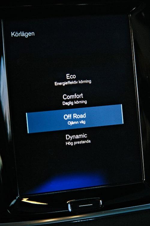 Off Road-läget fungerar upp till 40 km/h för att inte slita alltför mycket på drivlinan.