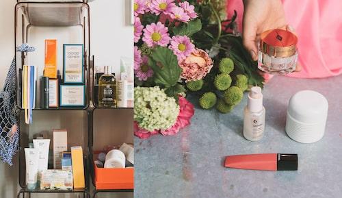 Beautyprodukter: Rosa på läppar och kinder från Chanel. Krämfavoriter från Charlotte Tilbory och La mer. Sat mirakel hybrideprodukten Futuredew från Glossier.