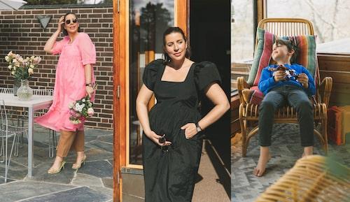 Vida klänningar är sköna över gravidbulan. Den rosa kommer från H&M. Yngsta sonen Frank trivs i rottingfåtöljen.