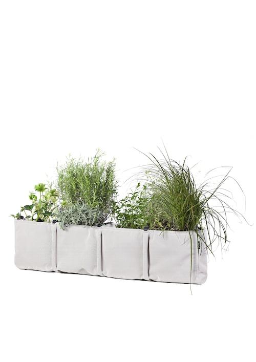 Planteringsväska i tyg som släpper ifrån sig överflödigt vatten, så ställ ett fat under inomhus. I sommar kan den hängas ut på balkongen, 1400kr, Bacsac.