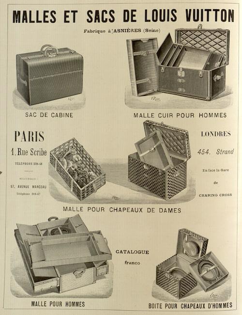 Väskreklam från Louis Vuitton från juli 1898. Bild: wikimedia