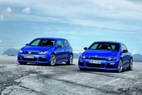Volkswagen Scirocco R bredvid Volkswagen Golf R.