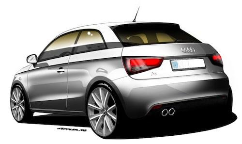 Designskiss över Audi A1.