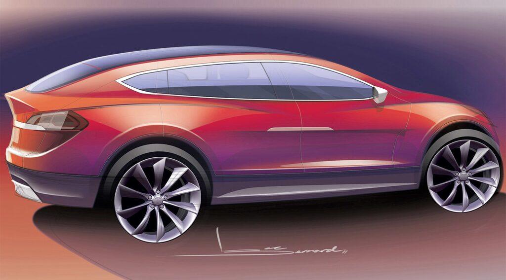 Skiss på Tesla Model X