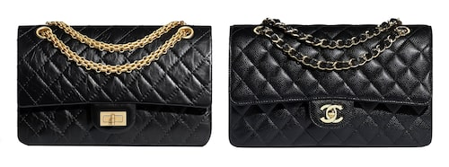 T.v.: Chanel 2.55, t.h.: Chanel Classic Flap.