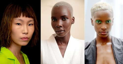 Buzz cuts och lite längre pixie-frisyrer är hett för korta hår 2019. T.v: Natasha Zinko, Marc Jacobs.